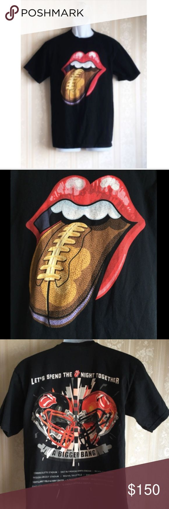 ROLLING STONES 2006 Bigger Bang Concert T-Shirt ROLLING STONES 2006 A Bigger Bang Concert T-Shirt Band Tour Football Tongue Sz M Commemorates tour appearances in following locations: Foxboro, Gillette Stadium. East Rutherford, Giants Stadium. Wichita, Cessna Stadium. Missoula, Grizzly Stadium. Regina, Taylor Field. Chicago, Soldier Field Stadium. Seattle, Qwest Field and Event Center. El Paso, Sun Bowl Stadium. Vancouver, B.C., Place Stadium. Oakland, McAfee Colosseum. Glendale, Cardinals…