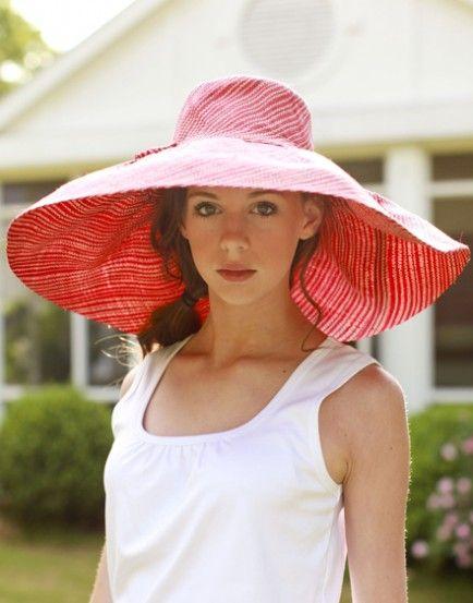 red stripe floppy sun hat