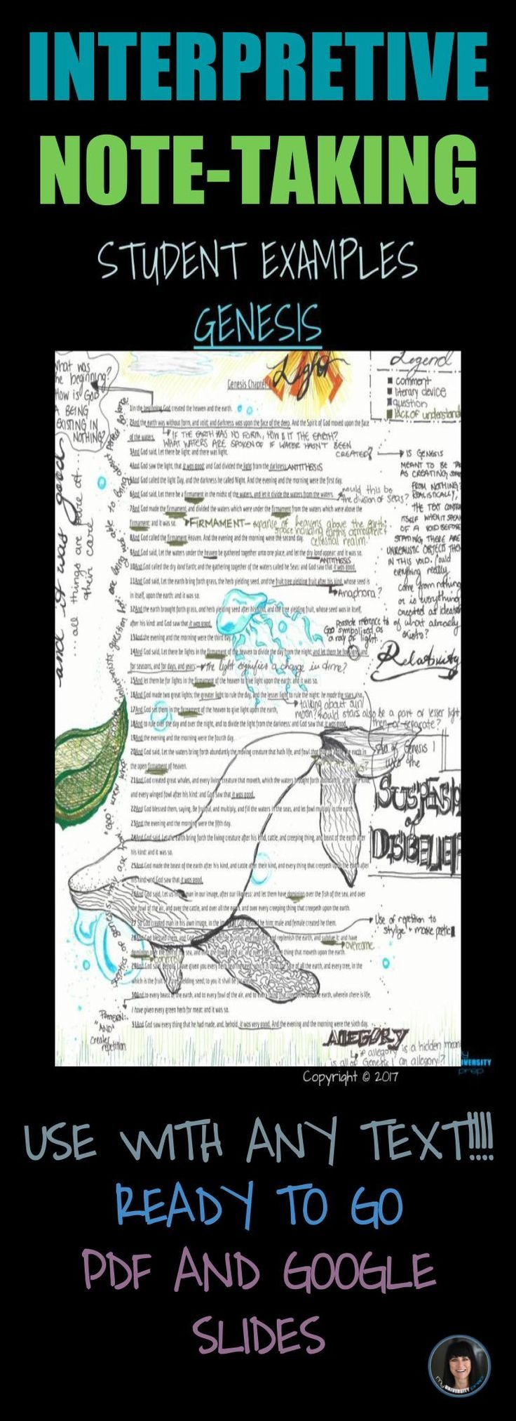 DON'T JUST ANNOTATE TRY INTERPRETIVE NOTE-TAKING FOR HIGH SCHOOL, COLLEGE, AND UNIVERSITY STUDENTS USE WITH ANY TEXT!!!! READY TO GO PDF AND GOOGLE SLIDES. Click to see more!
