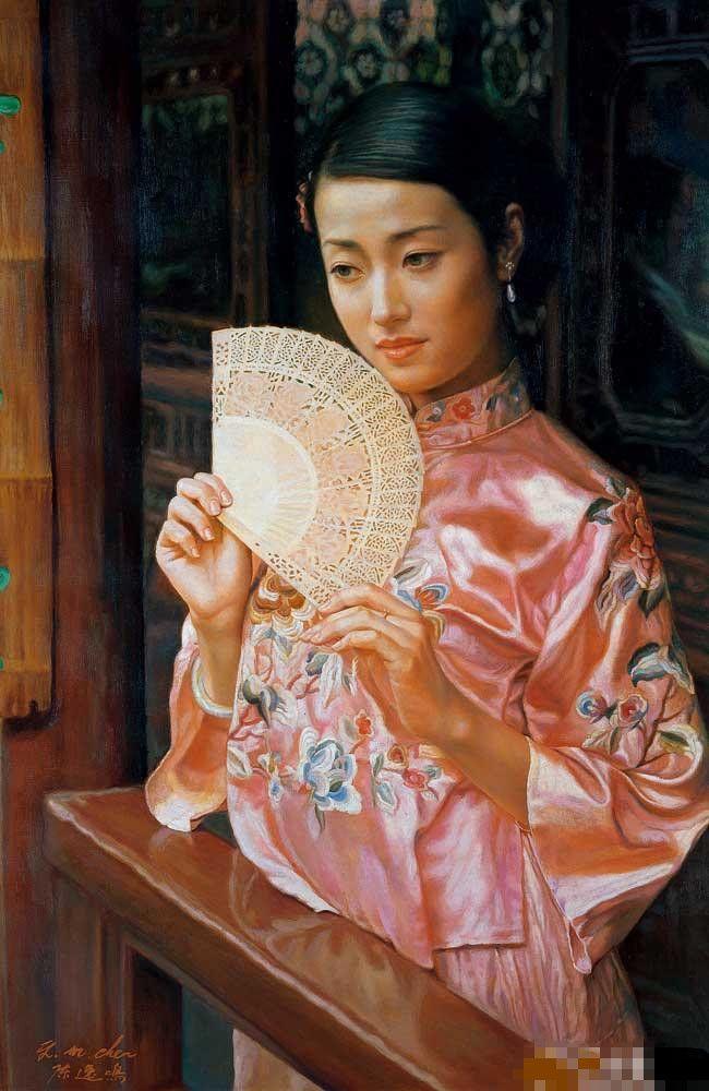 陈逸鸣油画作品:仕女系列-2 - 凭栏十里芰荷香 2005年作 作品尺寸:107*71cm