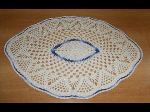 Tapete de Barbante em Croche Oval Azul e Natural parte 2 - crochet rug - alfombra de ganchillo - YouTube