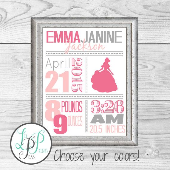 Princess Nursery Wall Art, Princess Birth Stats, Princess Birth Details Print, Princess Baby GIft, Custom Baby Gift, Princess Nursery Art