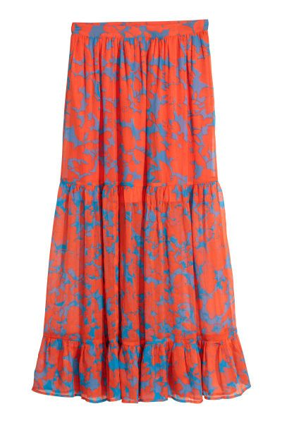 Check this out! Calf-length skirt in airy, chiffon with a printed pattern. Concealed zip and hook-and-eye fastening at back, two seams, and a wide flounce at hem. Lined at top. - Visit hm.com to see more.