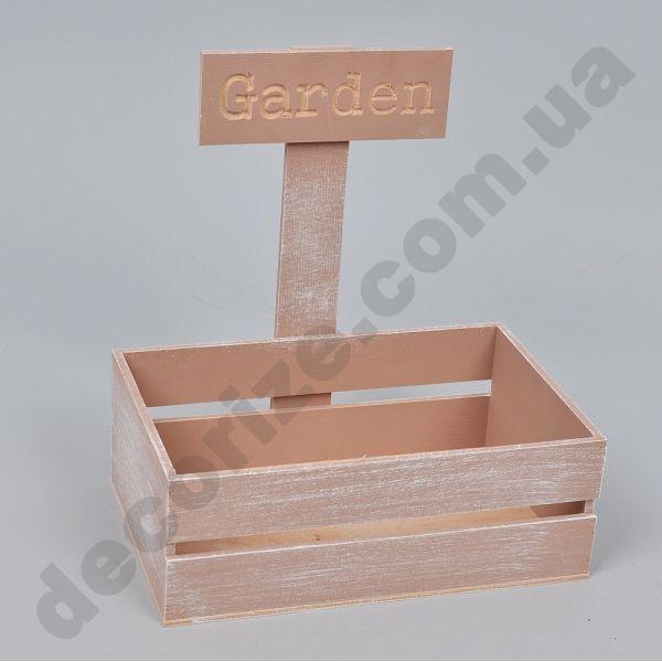 деревянные кашпо с таблицей для цветов garden коричневое