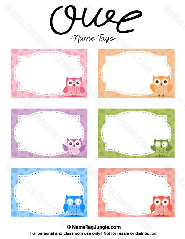 Free printable owl name tags. The template can also be used for creating items like labels and place cards. Download the PDF at http://nametagjungle.com/name-tag/owl/