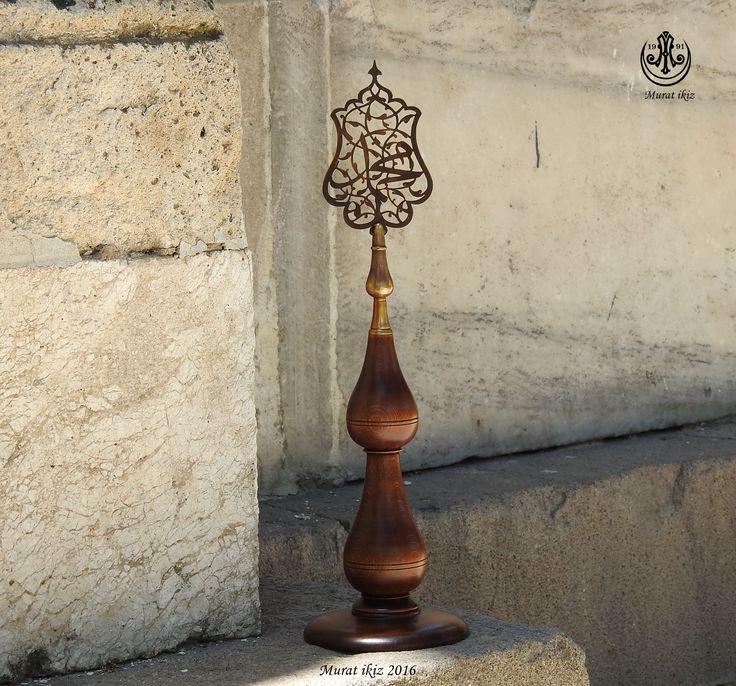 Saife kısmı pirinç, gövde kısmı Ahşap ismi Nebi ''Muhammed'' Yazılı Alem ,Tasarım Yapım Murat ikiz