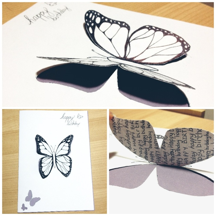 home made birthday card, inspired by butterflies