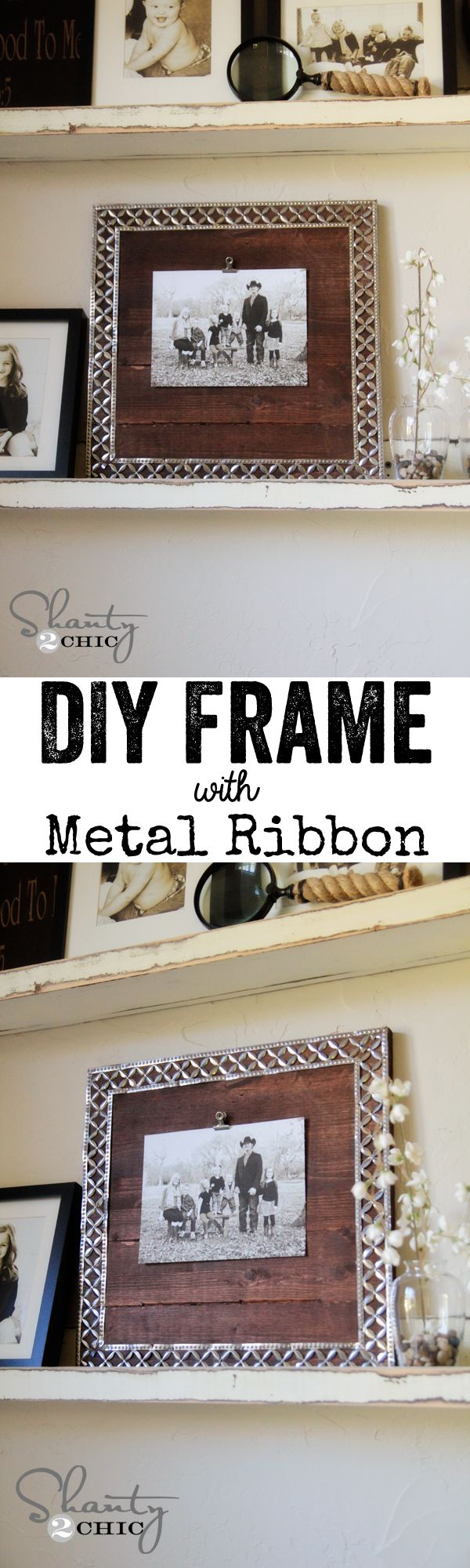 DIY Picture Frame with Metal Ribbon! So cheap! LOVE that ribbon!
