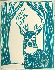 my holiday card for 2011.  Lino-cut print