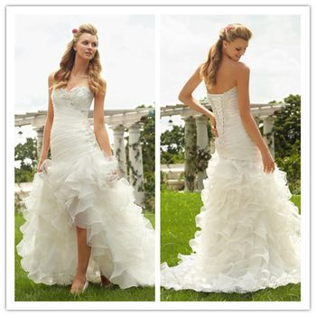 2013 New arrival sexy sweetheart high low wedding dress $208.00
