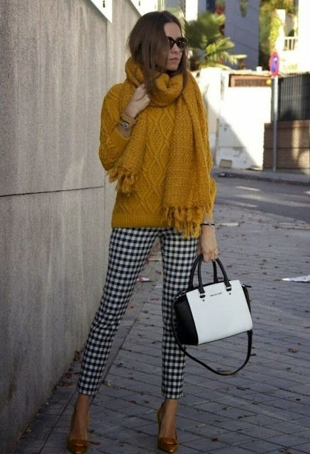 Fashion Is Life: Beautiful Black and white pants and Bag, golden color sweater