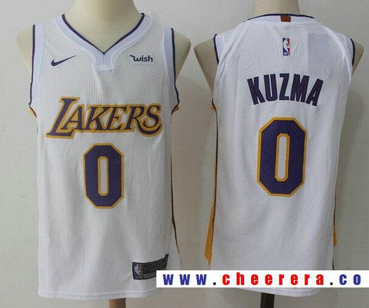 new styles 43658 807a7 Men's Los Angeles Lakers #0 Kyle Kuzma New White 2017-2018 ...
