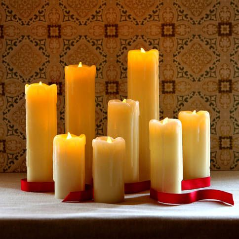 Lights.com | Flameless Candles | Pillar Candles | Slim Drip Flameless Wax Pillar Candles with Timer and Remote, Set of 8