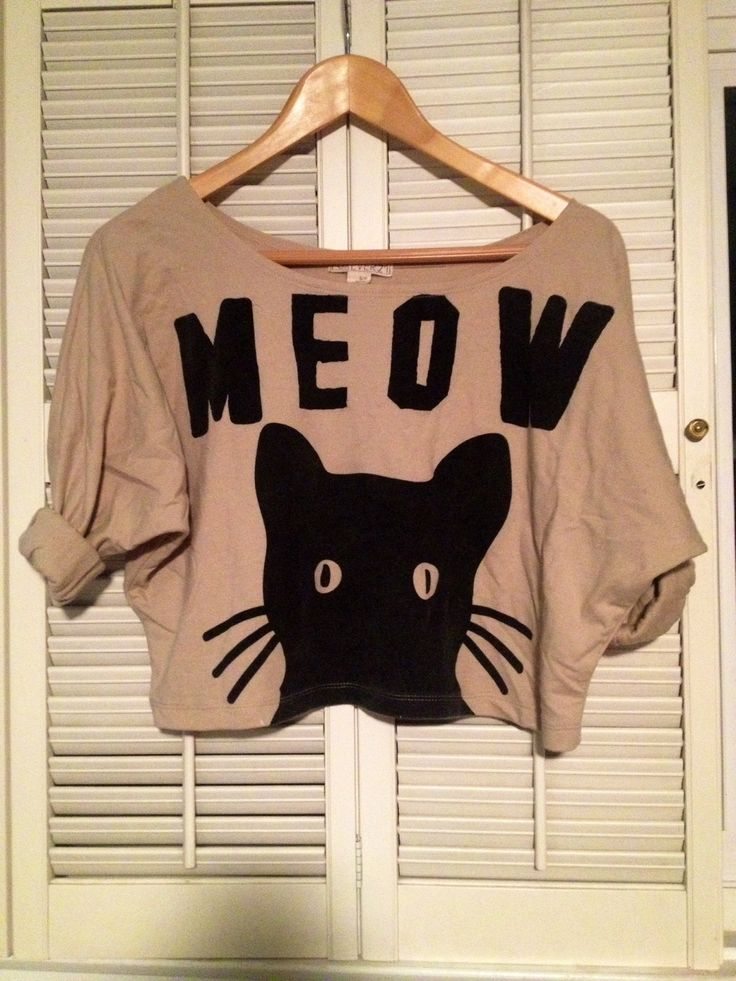 """Cropped cardigan with cute cat detail and """"MEOW"""". Cream/light brown with black. Size small"""