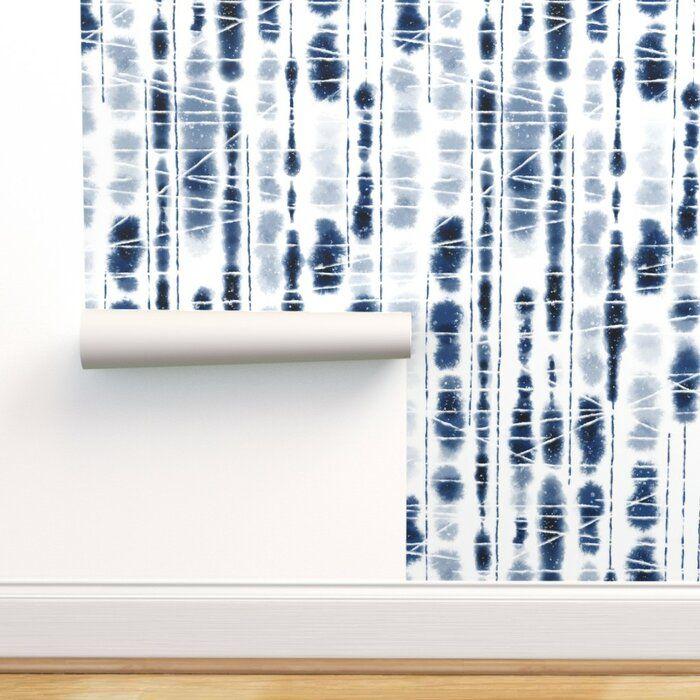 Deberry Shibori Peel And Stick Wallpaper Roll Joss Main Indigo Wallpaper Peel And Stick Wallpaper Wallpaper Roll