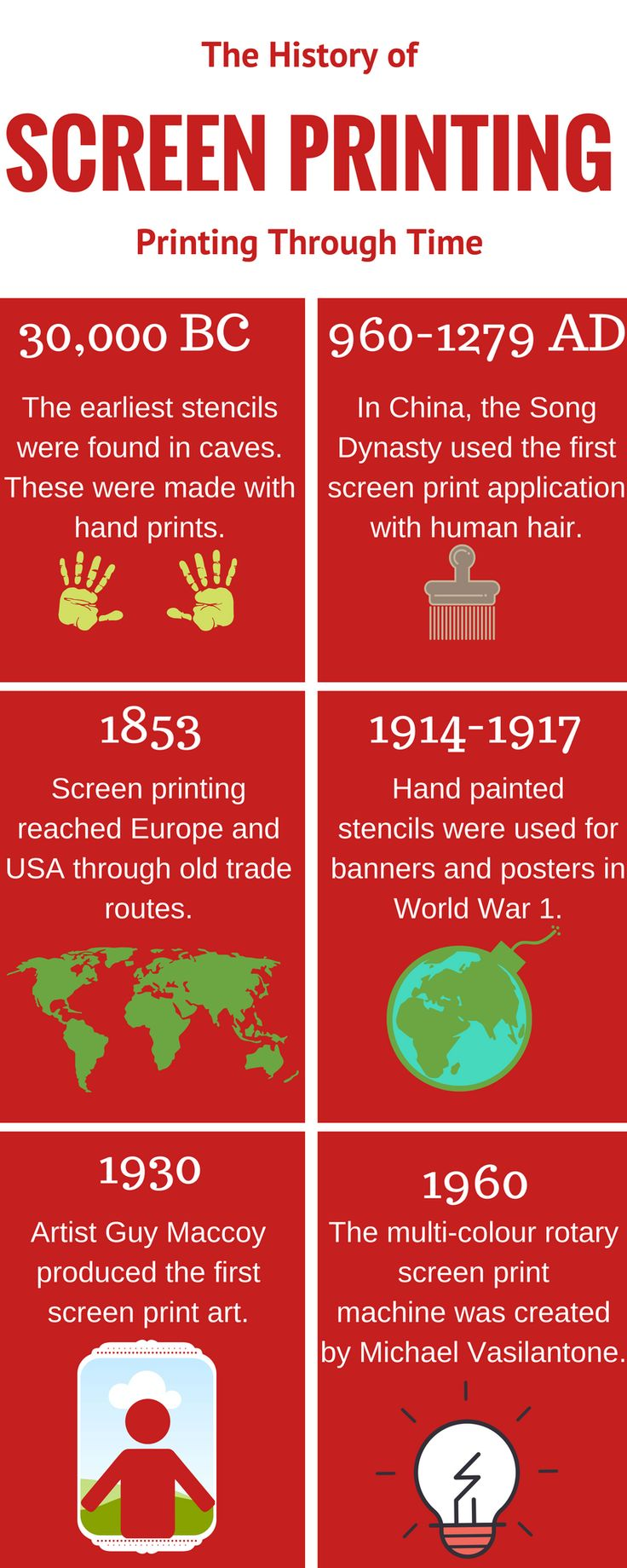 Learn about the history of screen printing in this infographic. View the original infographic here: https://www.canva.com/design/DACPHZqEGxk/share?role=EDITOR&token=8pIJ0_hbspi9CFZ_lsU-kw&utm_content=DACPHZqEGxk&utm_campaign=designshare&utm_medium=link&utm_source=sharebutton  Also, to find out more about screen printing visit: http://www.clearpoint-print.com/  Contact us: Park Lane Basford Nottingham  NG6 0DT  Tel: 01159 797 925 Fax: 0115 9797958