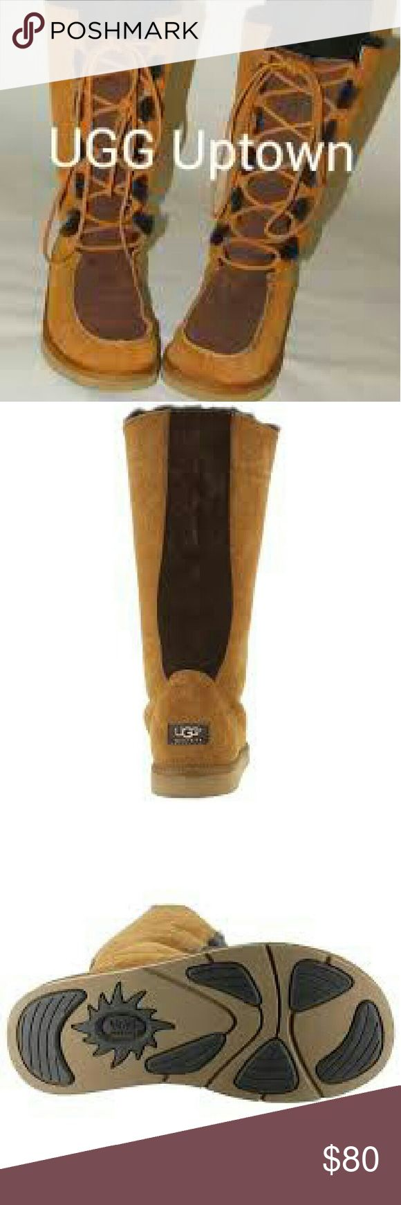 UGG Uptown Size 8, 💯%Authenticatic UGG Uptown boots , Australia Lace up midcalf, Suede sheepskin shearling, warm, comfortable, slight water stain on left as shown in pic # 4, otherwise in excellent condition. UGG Shoes Lace Up Boots