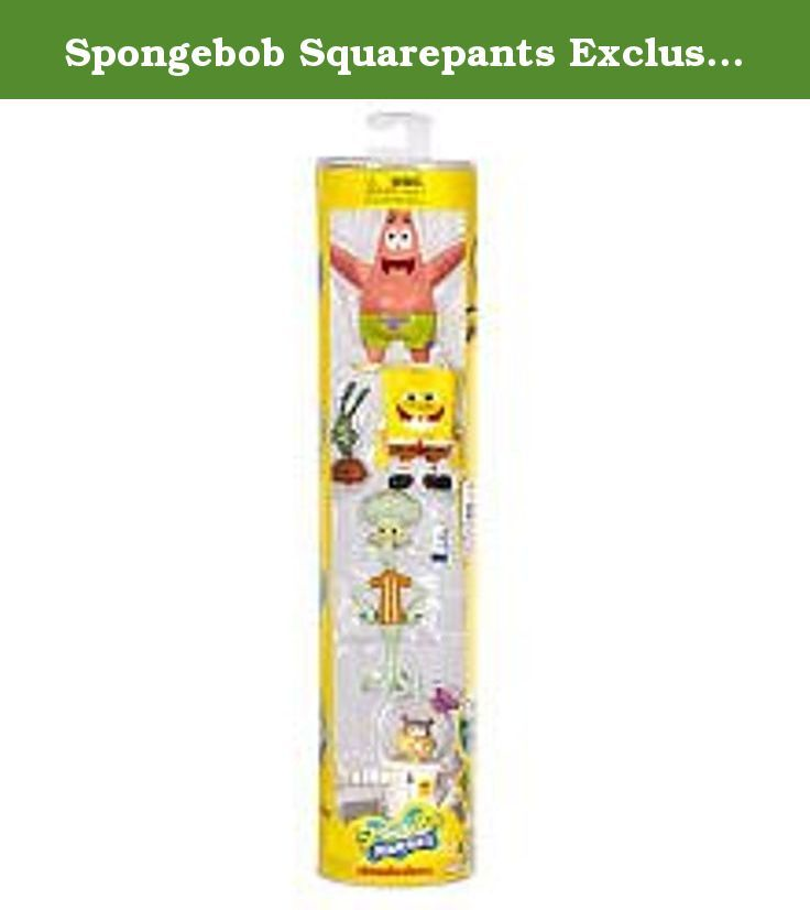 Spongebob Squarepants Exclusive Collectors Pack Figure 4Pack Patrick, SpongeBob and Plankton, Squidward Sandy. The perfect item for the SpongeBob fan of all ages! Get 4 action figures of SpongeBob, Patrick and their friends in this unique cylinder.