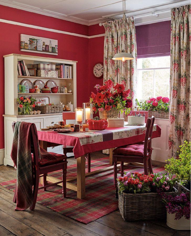 Wisteria Floral Cranberry Cotton Linen Mix Curtain Fabric