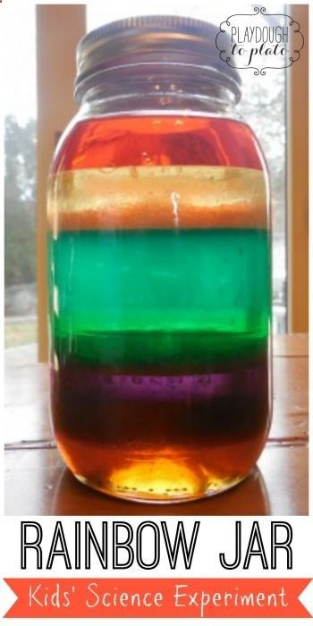 Fun kids' science experiment for St. Patrick's Day!! Make a rainbow in a jar. Great lesson on Density!!