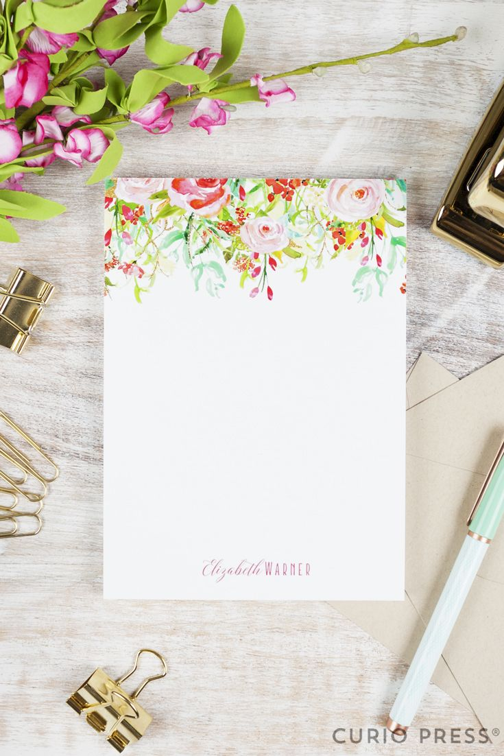 Personalized Notepad Rosecliff Stationery Stationary Rustic Wedding Watercolor Fl Pink Roses Peonies Calligraphy Notes