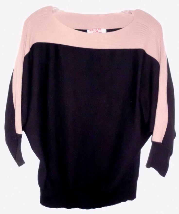 CAROL ROSE Black Taupe Dolman Sleeve Knit Sweater Sz M Women's  #CarolRose #Pullover