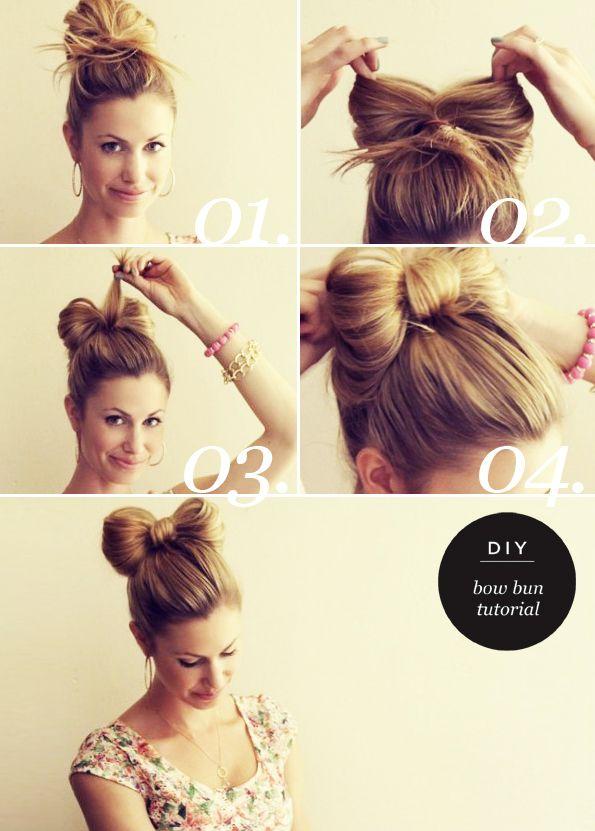 Bun Bow Hairstyle via
