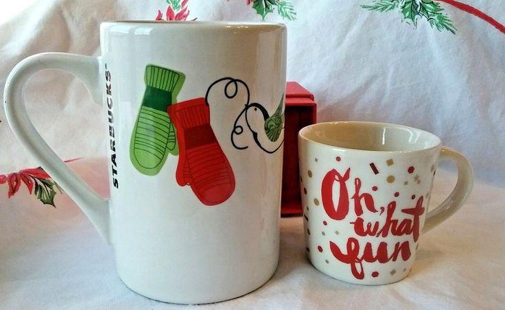 Starbucks Christmas Mugs Lg 10 oz Dove Mittens 2011 & Demitasse Oh What Fun 2014 #Starbucks