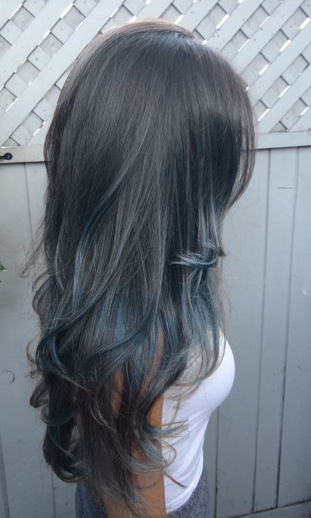 "Love the subtle blue highlights If I had dark hair I would ""try"" (hehe) to rock this look...   Oh well I like it"