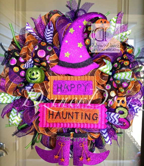 happy haunting witch halloween deco mesh wreath by dzinerdoorz 10500 - Halloween Deco