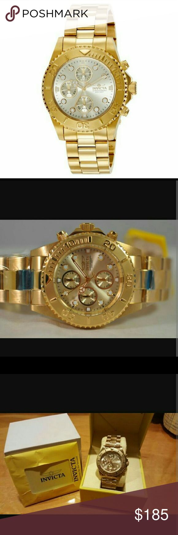 NWT Invicta $700 18K Gold chronograph watch Invicta Men's Pro-Diver Chronograph 18k Gold Ion-Plated Stainless Steel Watch   FIRM PRICE firm price firm price firm price  $199.00 . AUTHENTIC WATCH  . AUTHENTIC BOX  . AUTHENTIC MANUAL    SHIPPING  I will shipped it in 3-4 business day...i have to get it from my warehouse.   THANK YOU FOR YOUR UNDERSTANDING Invicta Accessories Watches