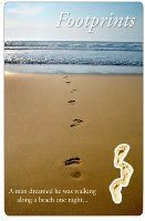 Footprints in the Sand Prayer Card.