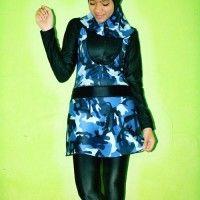BRMD201420 Baju Renang Muslimah Dewasa Semi Army Biru Motif Abstrak beli di ellima.web.id