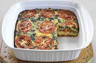 Easy Layered Vegetable Bake recipe - I love cooked tomatoes and want to try to eat more veggies, less meat.