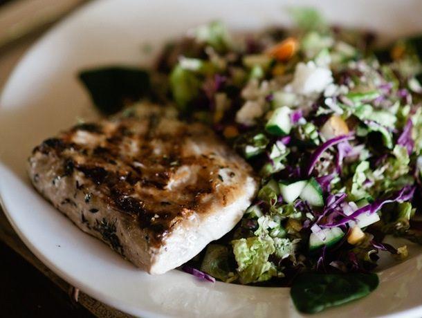 Grilled fish and salad at Lapa Rios Eco Lodge