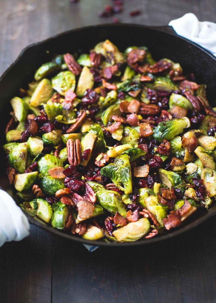 Balsamic Brussels Sprouts with Bacon Dried Cranberries and Pecans