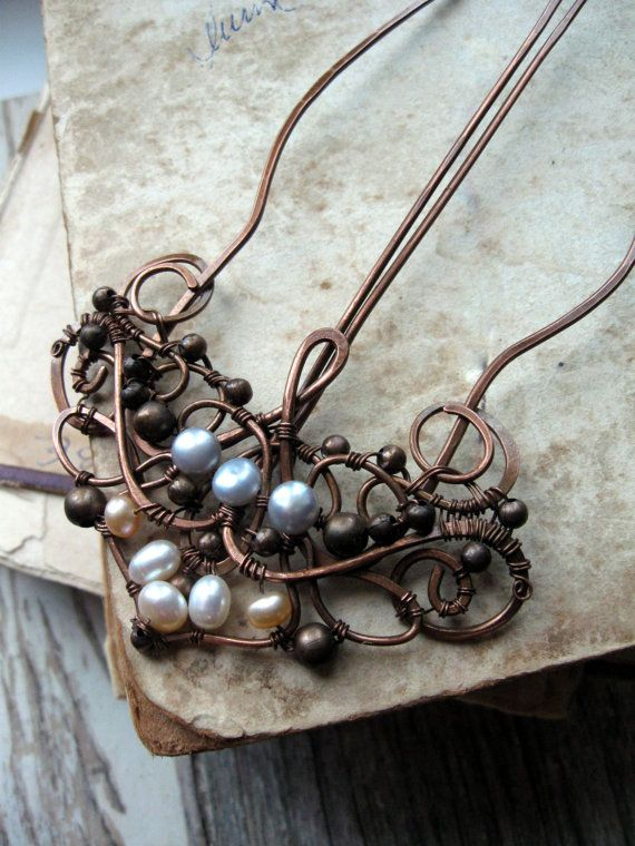 Antique  Copper Hair Comb  Wire Wrapped by ShawlPinsByLirimaer