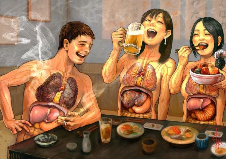 An artfully considered image of the ways smoking, drinking, and bad food can effect your organs. (By Dadaist-Gabriel)