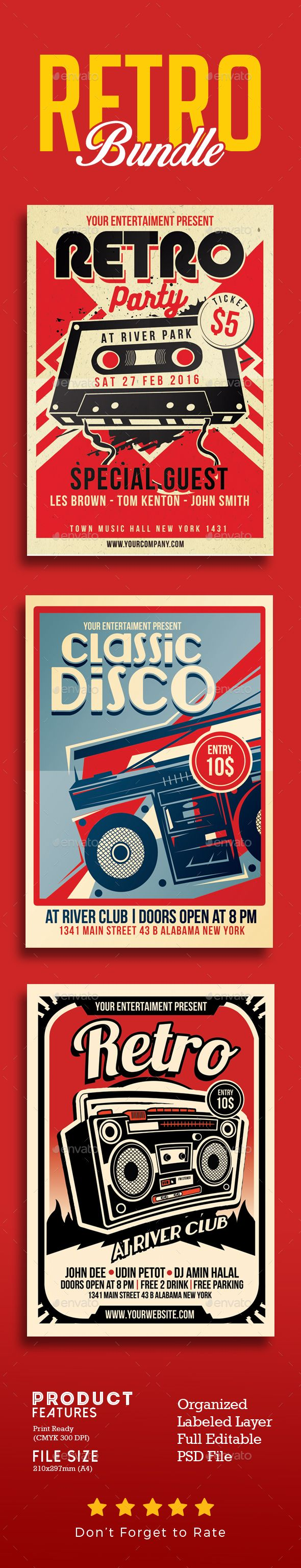Retro Music Flyer Template PSD Bundle