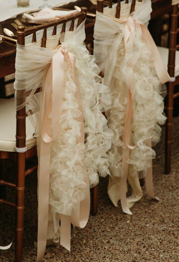 Elegantly embellished chair backs. Secret Garden Glamour Cedarwood Wedding   Cedarwood Weddings #cedarwoodweddings