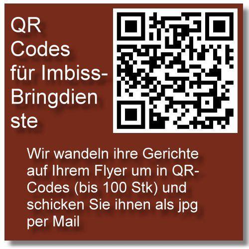 Produkt-QR Codes Erstellung für Lieferdienste (Pizzaservice etc), bis 100 Codes