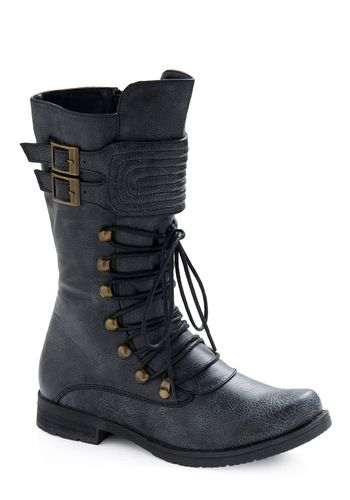 ModCloth Raise the Sails Boot...Biker chic and I would pair them with pearls and lace.