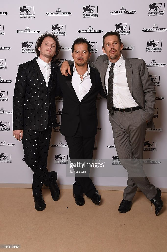 Actors Anton Yelchin, John Leguizamo and Ethan Hawke of 'Cymbeline' pose for a portrait for Jaeger-LeCoultre in their festival lounge during the 71st Venice Film Festival at Excelsior Hotel on September 3, 2014 in Venice, Italy.