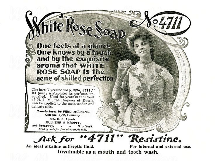 From 1903 an advertisement for 4711 Resistine White Rose Soap.