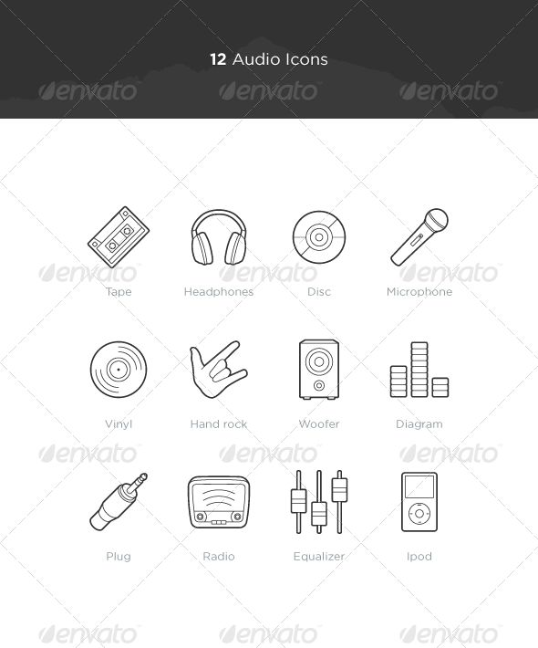 Audio Icons  #GraphicRiver         Files formats : EPS + PNG. Usage suggestions : Tape, cassette, microphone, music, disc, headphones, vinyl, hand rock, woofer, diagram, equalizer, radio, plug, connector, ipod.       Created: 8September12 GraphicsFilesIncluded: TransparentPNG #VectorEPS HighResolution: Yes Layered: Yes MinimumAdobeCSVersion: CS Tags: audio #icons