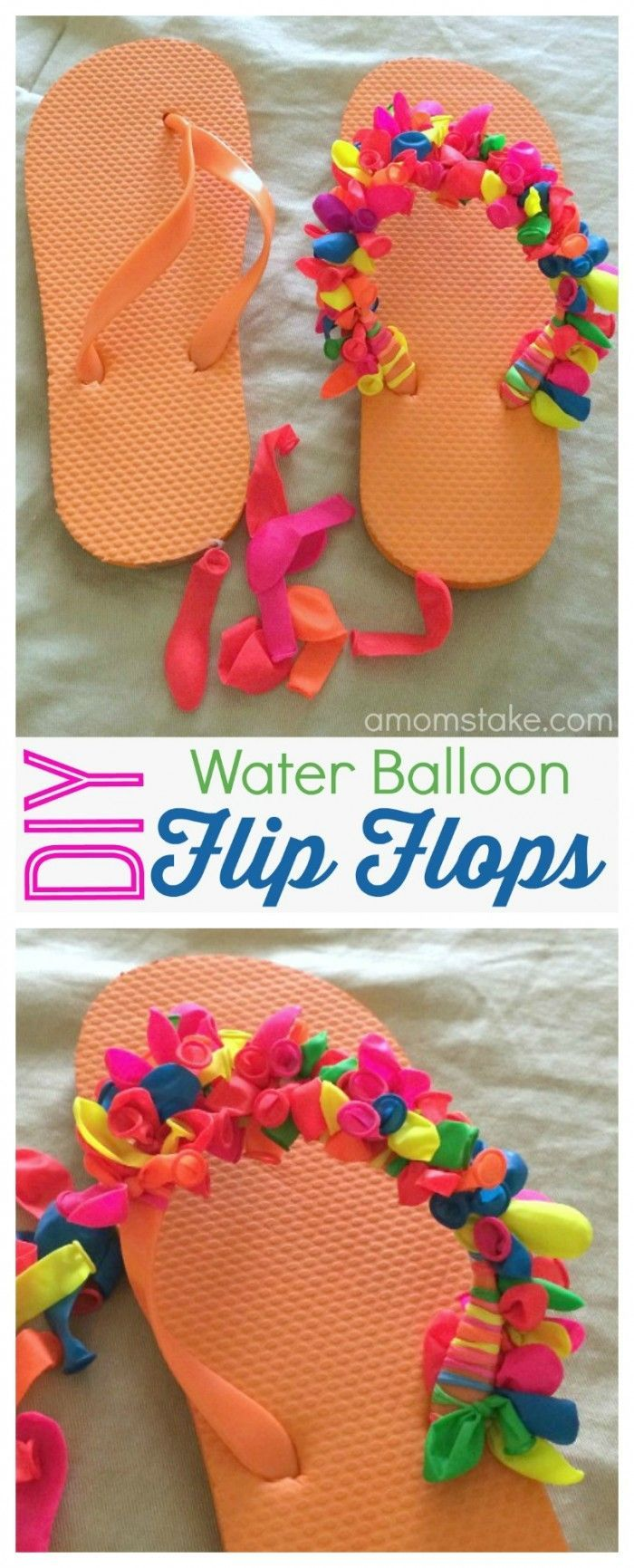 Love this summer project to make your own DIY decorated flip flops - all you'll need is a pack of water balloons! Mix and match patterns or make a rainbow pair. How to make these fun summer flip flops for kids (or adults) and just a few dollars!