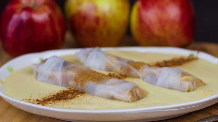 Apple Strudel Rice Paper Rolls  with Creamy