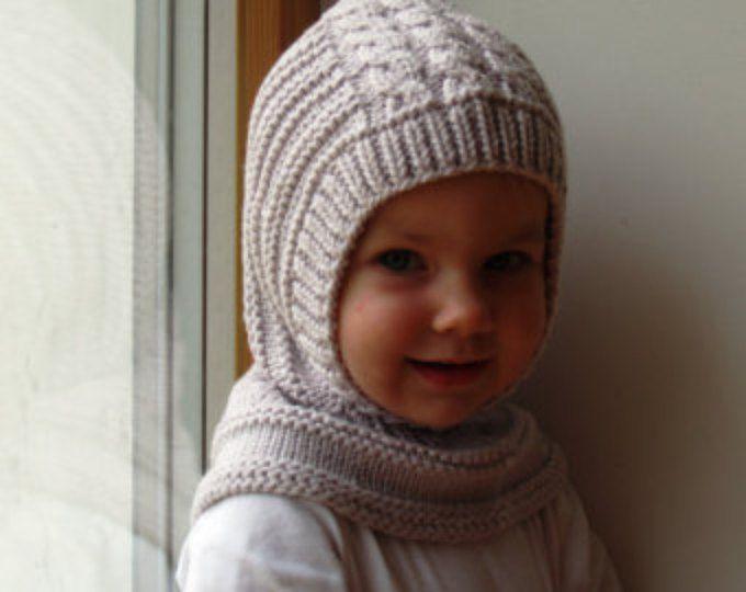 LISTO para enviar todos los tamaños! Sombrero de pasamontañas de lana Merino, bebé / niño / niños con capucha sombrero, arena gris casco.