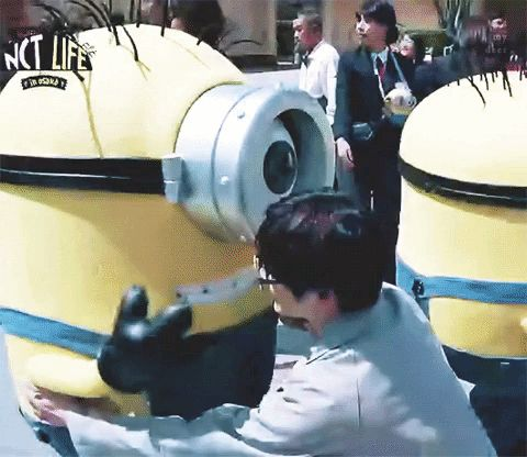 A '95 liner hugging a minion, if that is not cute then I don't know what is.