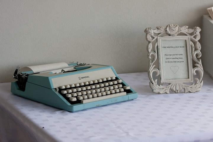 Typewriter & Props supplied by Cape Of Love. Margaret River  WA  www.capeoflove.com